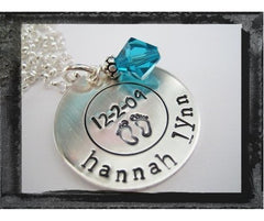 Circle Pendant Charm - Name - Birthdate - Footprints - New Baby