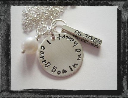 Sympathy Bar Necklace - I carry you in my Heart