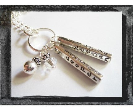 Sterling Silver Double Memory Bar Necklace - Looped with 2 baubles