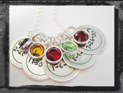 Circle Charms - Bezel Swarovski Crystals - x5 - Fun Font