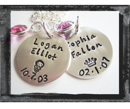 Birthdate Charms - Bezel Swarovski Crystals x2
