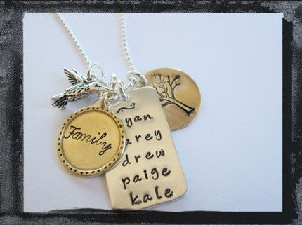 Family Tree - Mixed Metal Charm Necklace