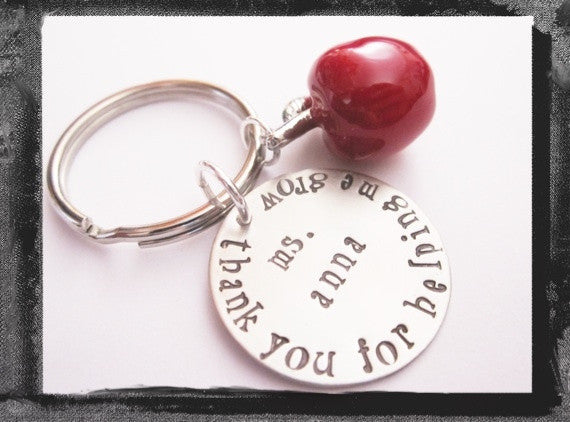 Teacher Gift - Apple Keyring - Thank You For Helping Me Grow