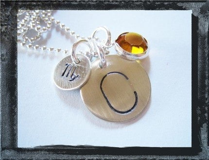 Initial - Zodiac Sign - Birthstone Necklace