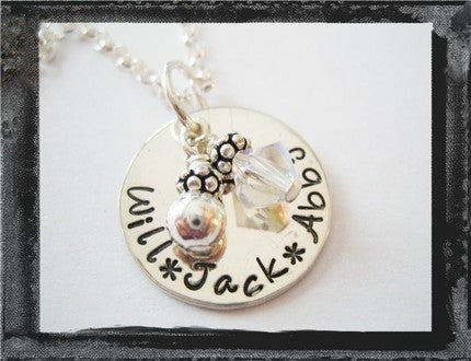 Stamped Tag Necklace - Swarovski Crystal and Sterling Bead