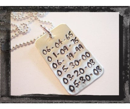 Save The Date Dog Tag Necklace in Sterling SIlver