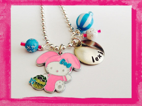 Pink Bunny Rabbit Easter Necklace
