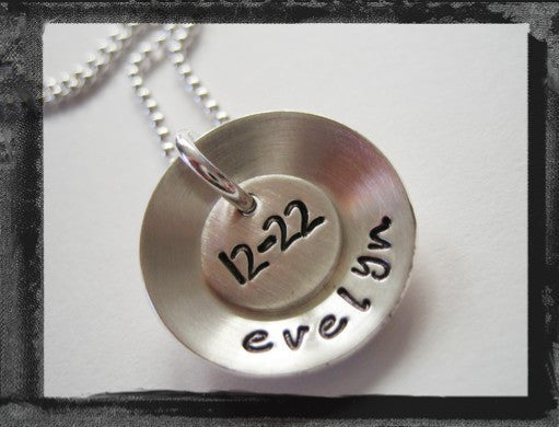 Sterling SIlver Name and Date Necklace - Domed