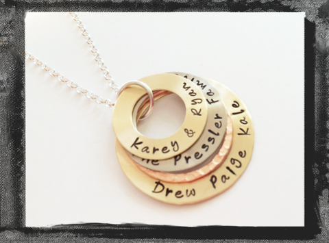 Family Stack Mixed Metal Washer Necklace - Personalized