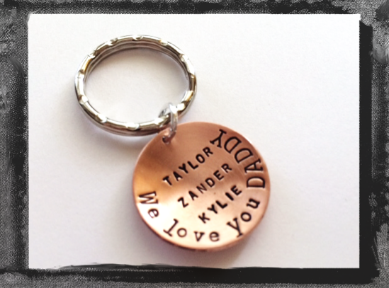 Father's Day KeyRing - Hand Stamped and Domed in Copper - We Love You Daddy