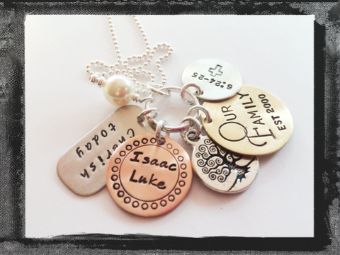 My Family Mixed Metal Charm Necklace from LillyEllenDesigns