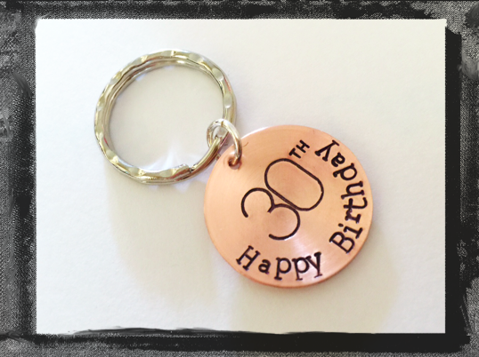 Birthday Key ring - Hand Stamped and Domed in Copper - Birthday Gift
