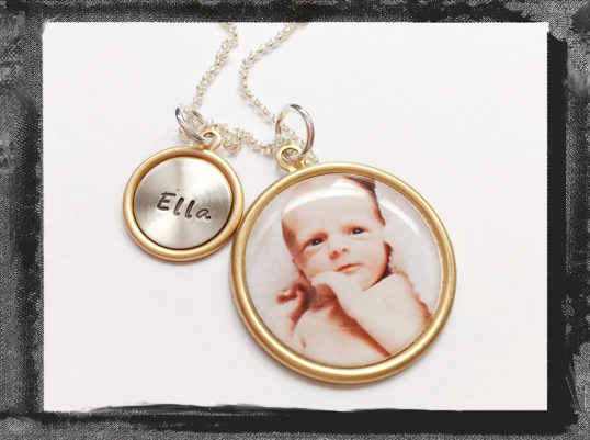 Personalized Photo Necklace and Name Charm