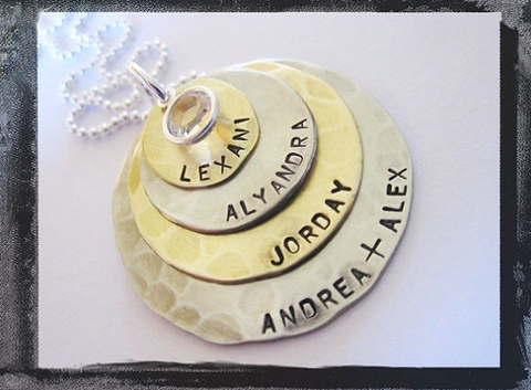 Silver and Gold Layered Necklace - Mommy Jewelry - 4 Stack
