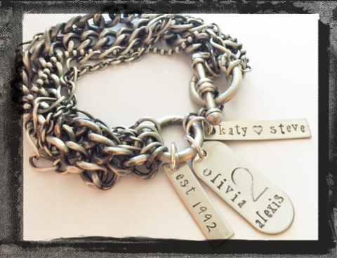 Celebration Bracelet - Personalized in Mixed Metals
