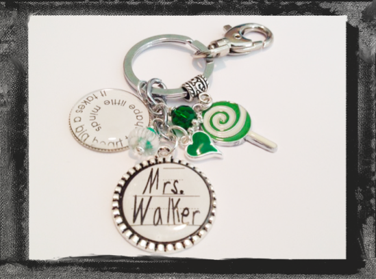 "Teacher Appreciation Key Ring Teacher Bag Tag ""It takes a big heart to shape little minds""  #K17"