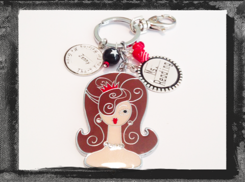 Key Ring or Bag Tag Teacher Gift  Brown Haired Lady #K21