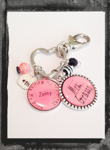 "Teacher Key Ring Personalized Bag Tag ""Thanks for helping me grow"" #K18"