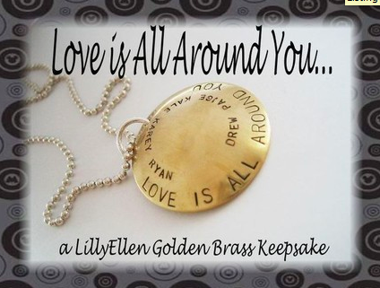 Love is All Around You - Golden Brass Pendant Necklace