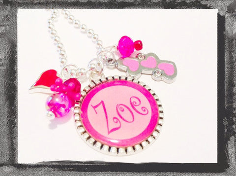 Personalized Necklace TRIPLE HEART Cameo Necklace #V4