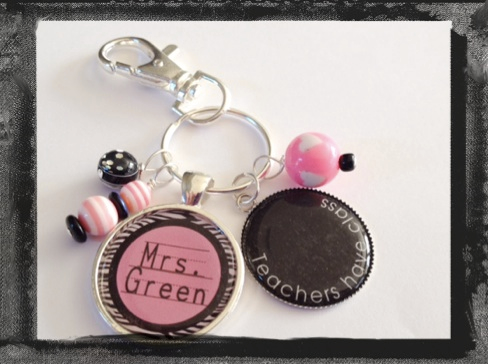 "Teacher Appreciation Key Ring Teacher Bag Tag ""Teachers have class"" #K25"