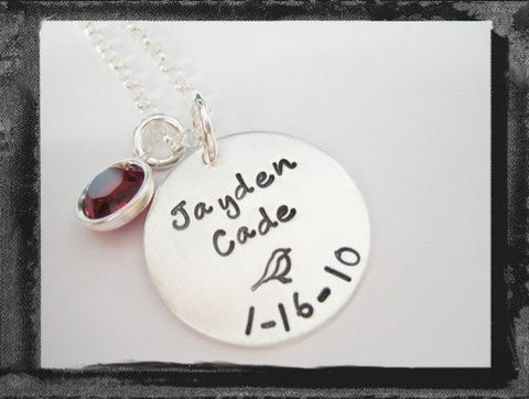 Birthdate Charm - Bezel Swarovski Crystal Necklace