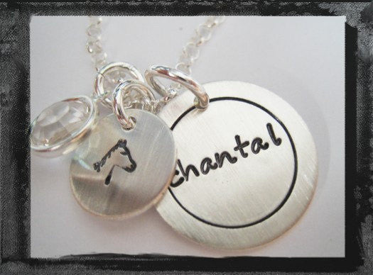 Sterling Circle Charm - Design Stamp - Birthstone Necklace