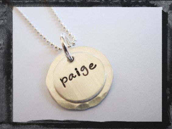 Sterling Silver Hammered Name Necklace