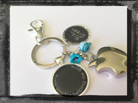 "Teacher Key Ring Key Chain Personalized ""Thank you for helping me grow""   #K31"