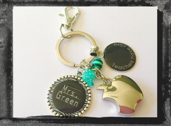 "Teacher Key Ring Key Chain Personalized ""Teachers have class""   #K32"