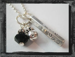 Sterling Silver Memory Bar Necklace w/ Swarovski crystal and sterling bauble