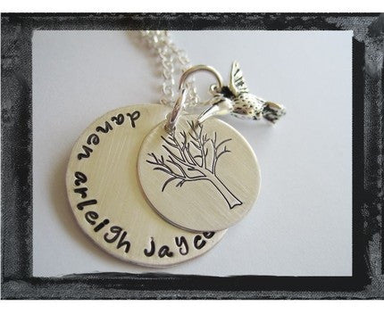 Family Tree and Hummingbird Stacked Necklace