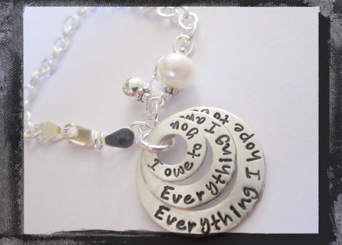 Washer Charm Bracelet - Family Stack -Personalized Sterling Silver