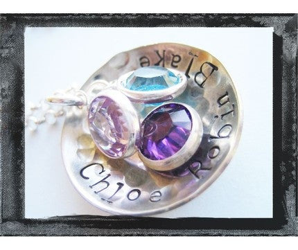 A Cup Of Love - Hammered and Textured - Bezel Birthstones