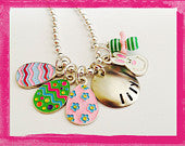 Easter Charm Necklace - Personalized for your little one Easter Eggs and a Bunny #ea106