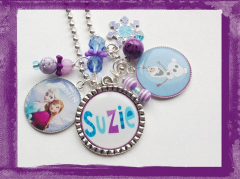 Snowman and the Princess Frozen Necklace -  Personalized Bezel Necklace for girls #B29