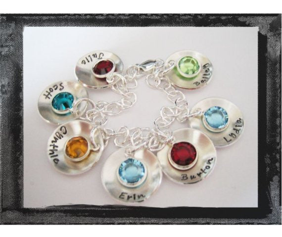 7 Disc Bracelet with Birthstones Sterling Silver