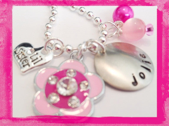 Little Sister or Big Sister PINK SPARKLE FLOWER Childrens Necklace #sis81