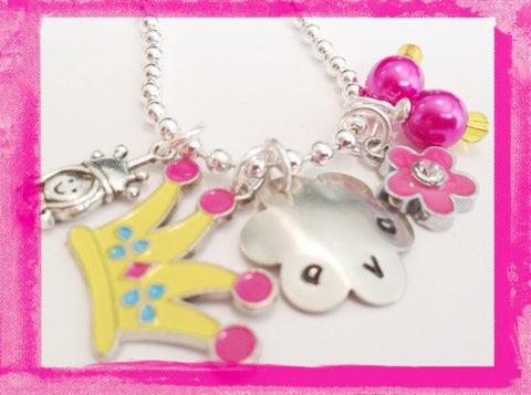 Personalized Charm Necklace Princess and her Crown