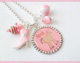 Personalized Horse Necklace Charm Necklace - Personalized Cowgirl  Necklace Bezel Jewelry #B53