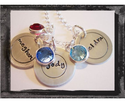 Circle Charms - Bezel Swarovski Crystals - x3 - Fun Font