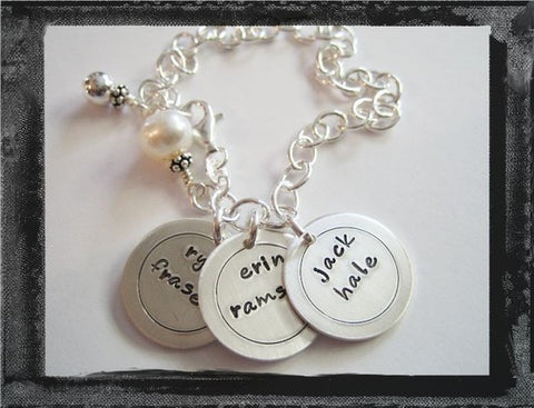 Circles Charm Bracelet - x3 - Personalized Sterling Silver