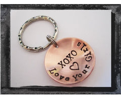 XOXO Key Ring - Hand Stamped and Domed in Copper - Love