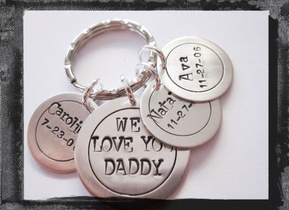 Personalized Key Ring in Sterling SIlver - WE LOVE YOU DADDY