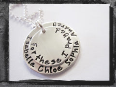Stacked Silver Family Necklace - Husband, Wife, Kids