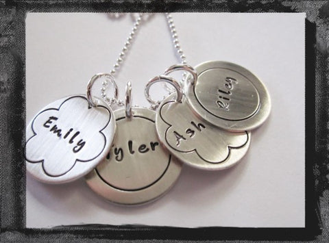 Sterling SIlver Circle & Flower Border Charms - x4 - Fun Font