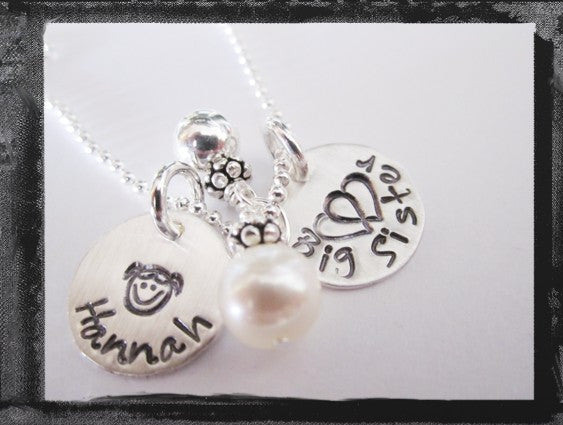 Big Sister - Little Sister - Middle Sister Charm Necklace