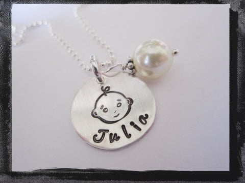 Baby Face - Sterling Silver with Name