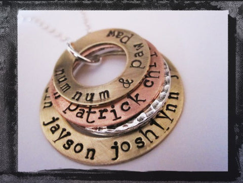 Family Stack Mixed Metal Washer Necklace - Type Font