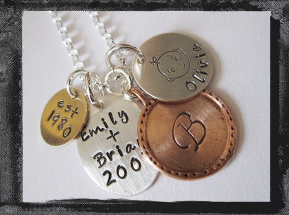 Our New Family Charm Necklace - Mixed Metal Charms